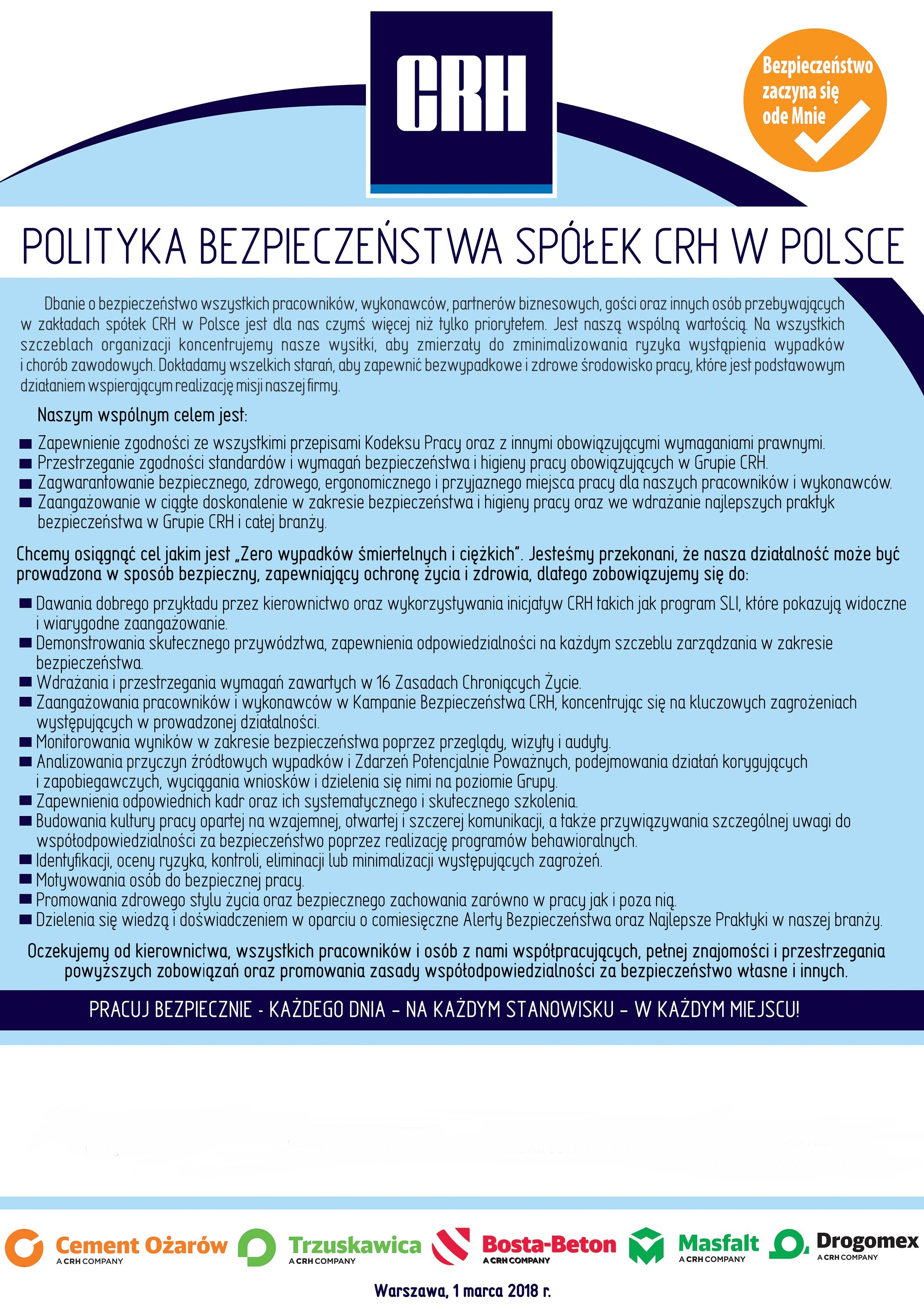 Polityka bezpieczeństwa CRH Materials