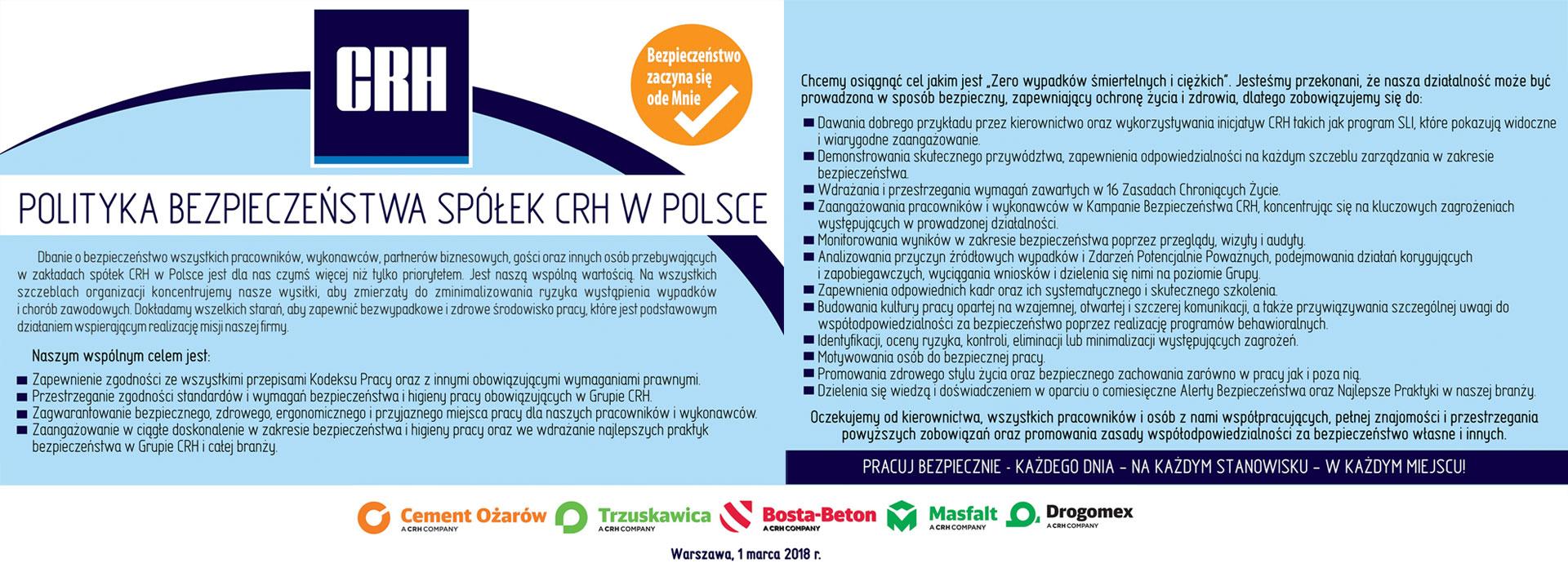 Polityka bezpieczenstwa CRH Materials Polska